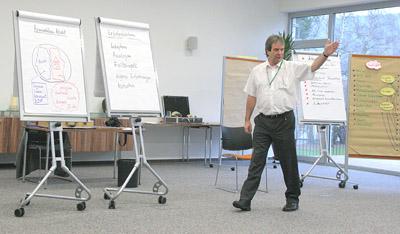 Jürgen Burberg während eines Präsentationsworkshops für das Kuratorium für Dialyse e.V. im Dezember 2009